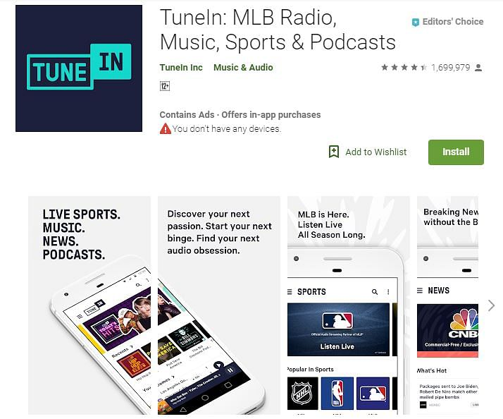 free tunein radio app for android