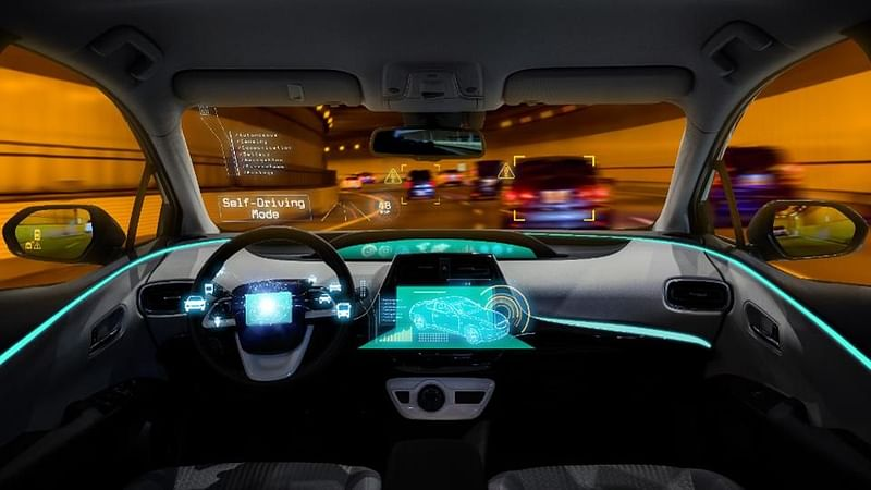 A heads-up display on an autonomous car dashboard at night Source: Shutterstock