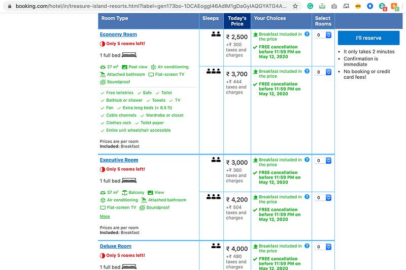 Booking.Com screen