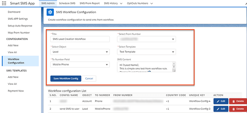 SMS Workflow Configuration