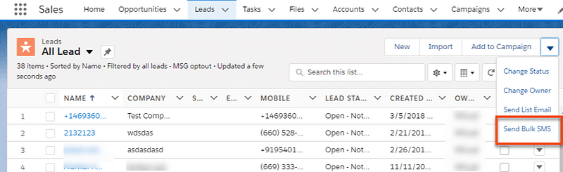 Send Mass SMS from Object List View
