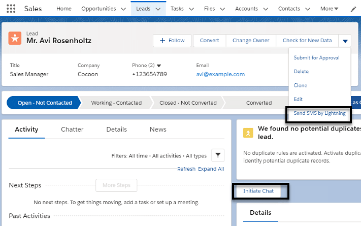 Send Single SMS from Record Detail View Page