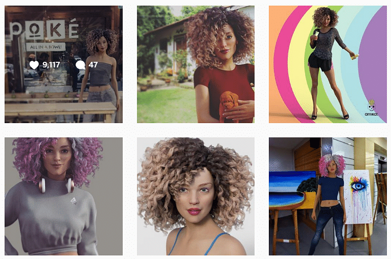 Various pictures of a girl on social media