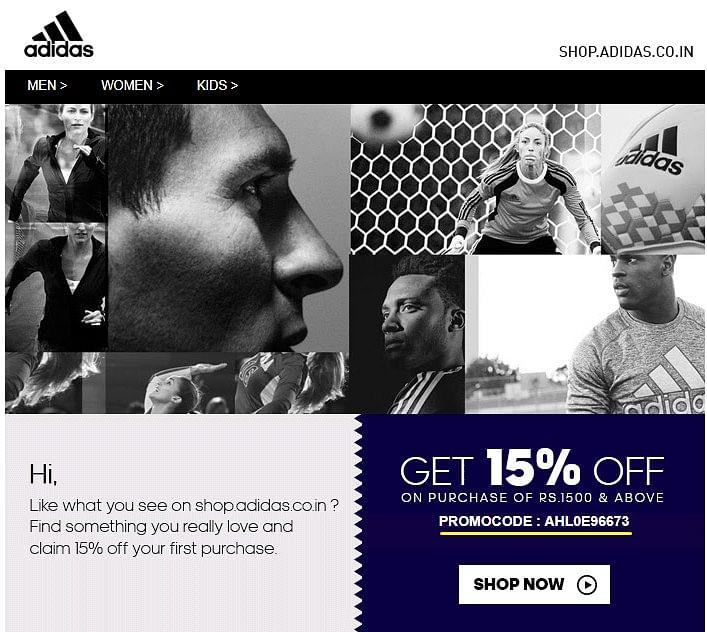 Adidas highlighting promo codes