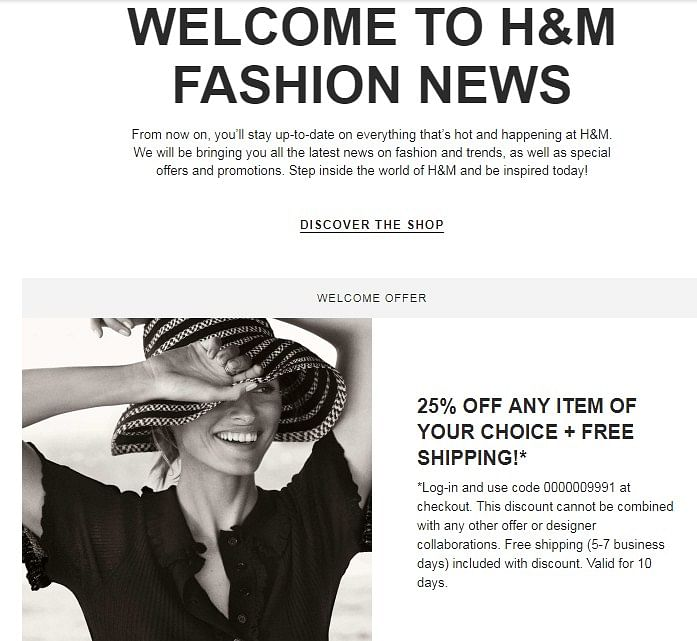 Welcome Promo Code by H&M