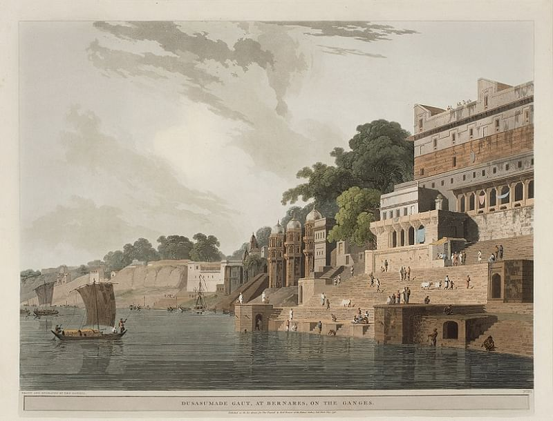 Dusasumade Gaut, At Bernares, On The Ganges by Thomas Daniell