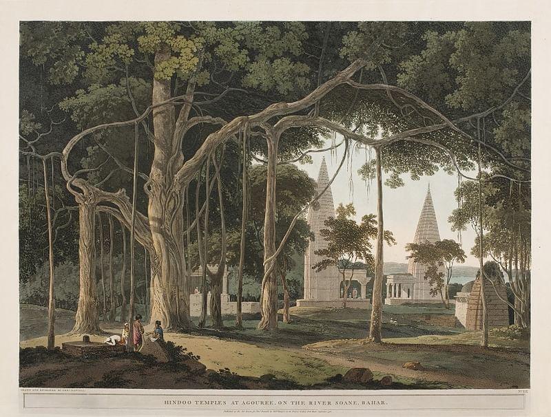 Hindoo Temples At Agouree, On The River Soane, Bahar by Thomas Daniell