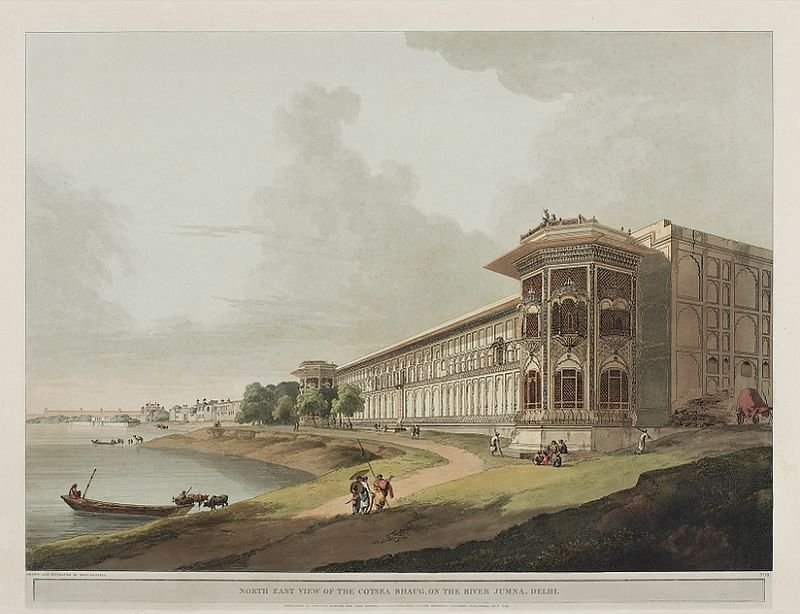 North East View Of The Cotsea Bhaug On The River Jumna, Delhi - 1795 by Thomas Daniell