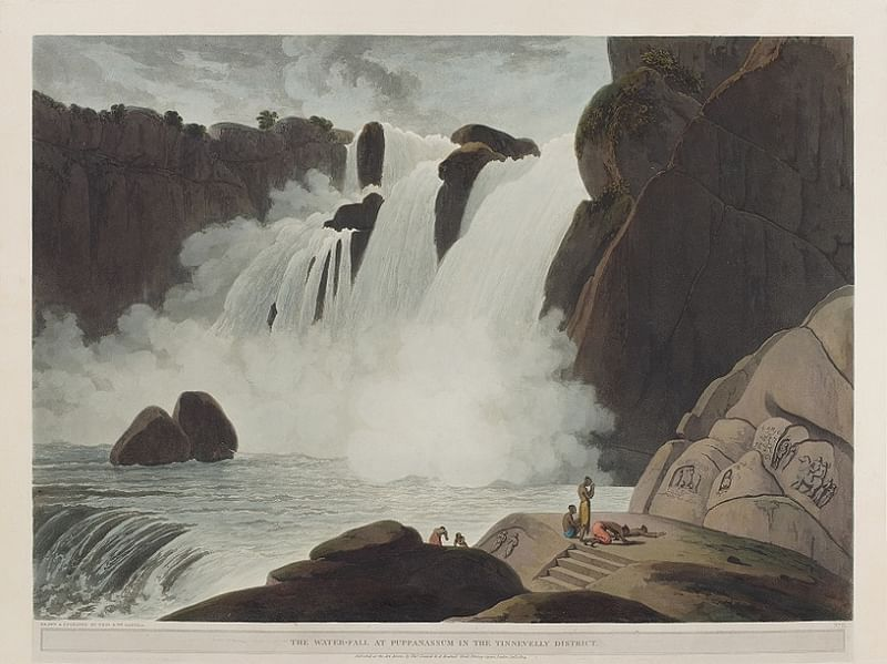 The Water-Fall At Puppanasama In The Tinnevelly District - 1804 by Thomas and William Daniell