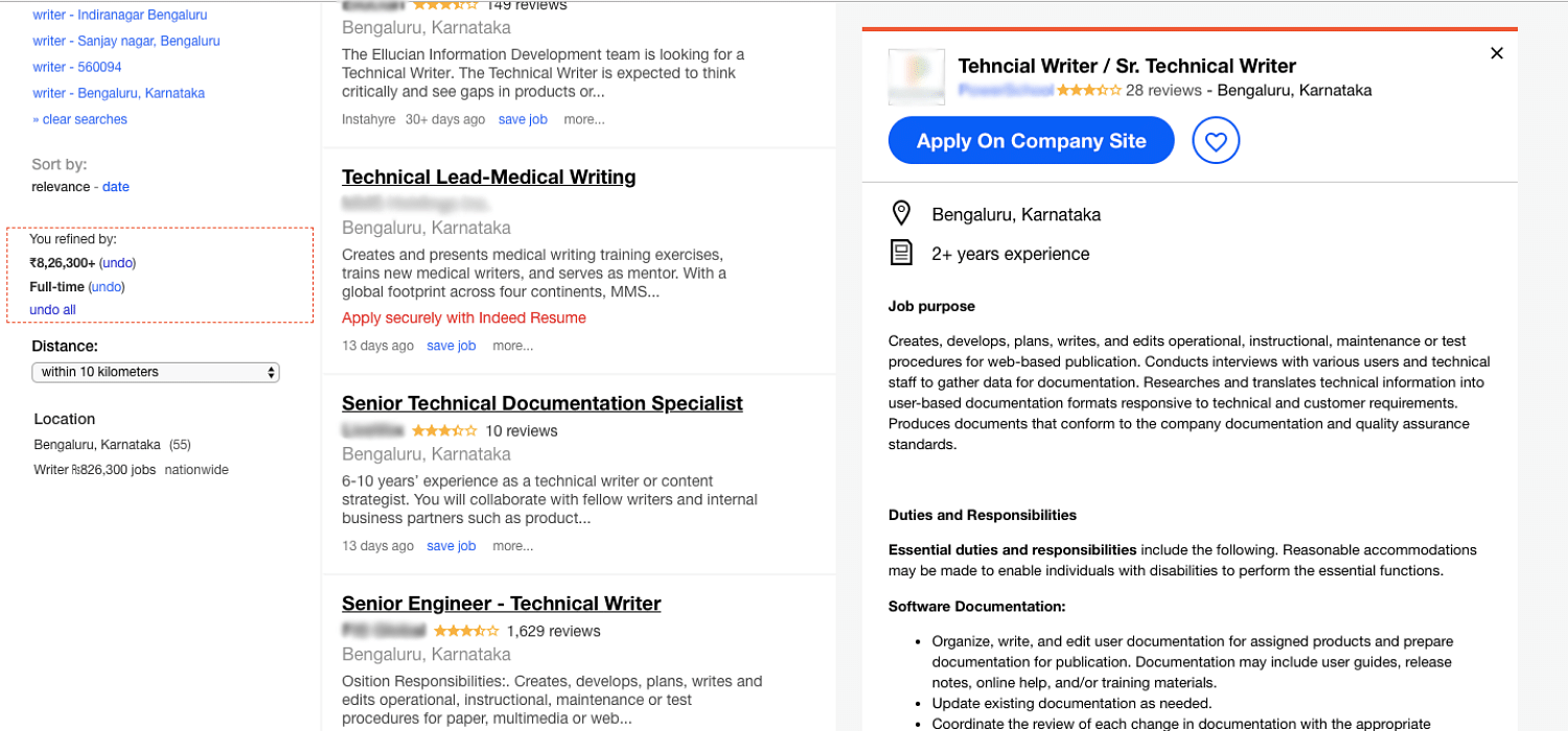 I tried looking for a job on Indeed, which claims to be the