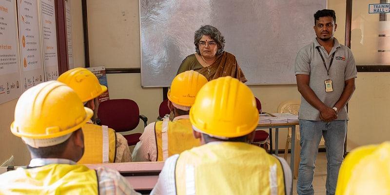 Gayathri Vasudevan of Labournet speaks at a training session