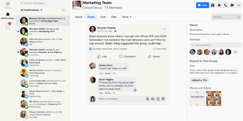 Facebook's Workplace gets a new look: From notification to