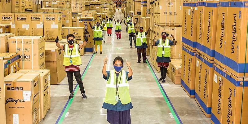 Amazon launches Indias largest specialised fulfilment centre, aims for 20,000 deliveries a day this festive season - YourStory