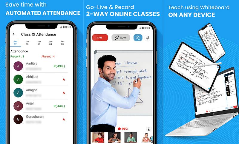 Screenshot of Teachmint app feature