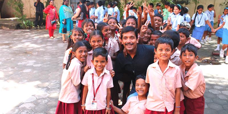 Maatram Co-founder Sujith Kumar with children