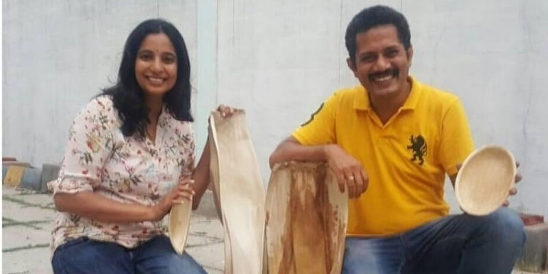 Using palm leaves, this couple is making eco-friendly