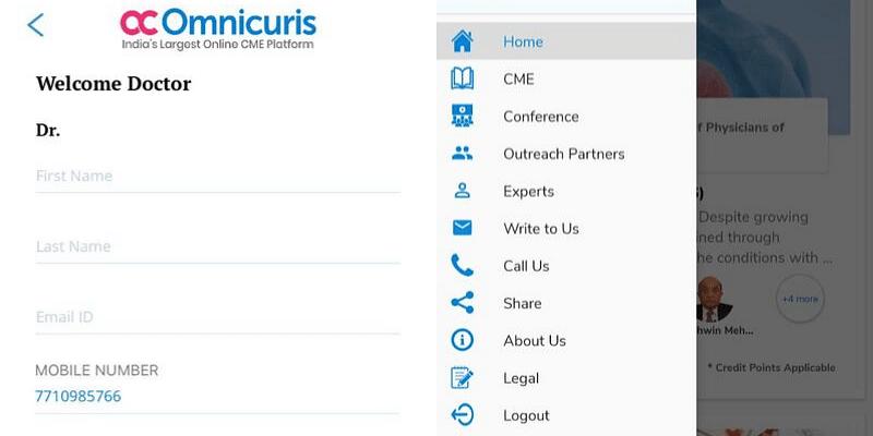 Interface of Omnicuris app