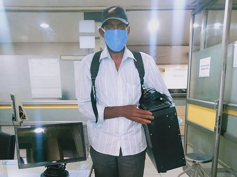 Blind man collected laptops