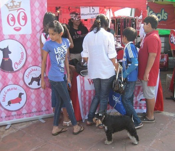 People thronging at a stall set up by Woofilicious at a dog show