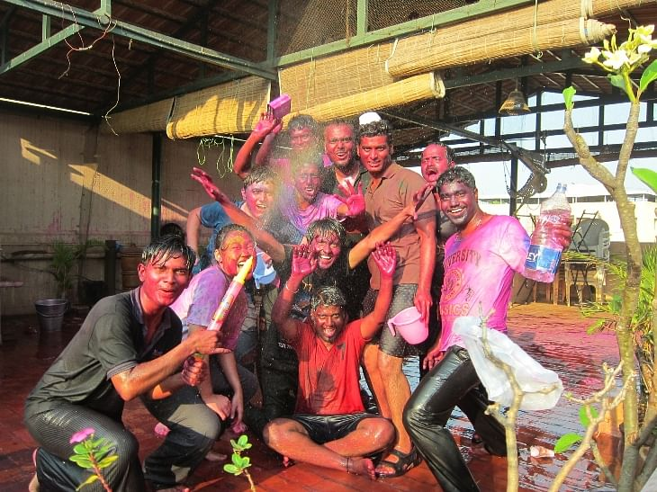 Babajob team celebrating Holi