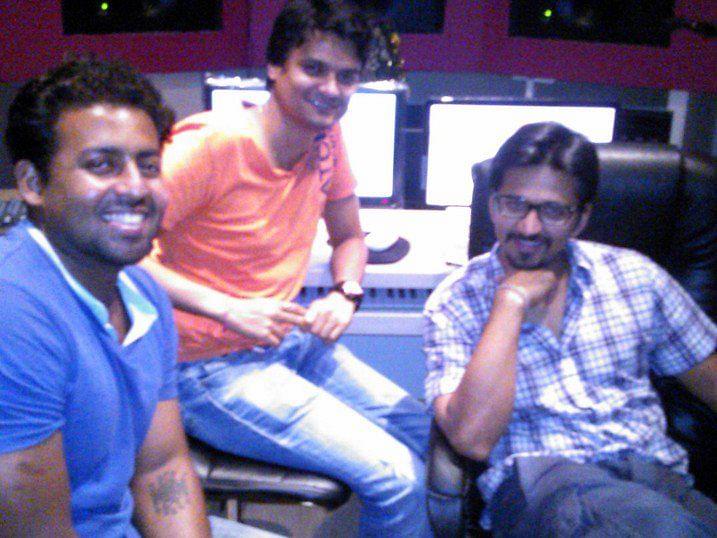 Joel Mukherjee (extreme left) with Amit Trivedi (Extreme right)