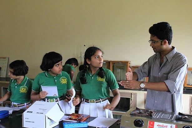 Priyadeep with the students