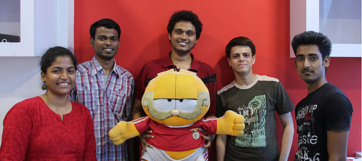 Angad Nadkarni with Garfield and the Examify team
