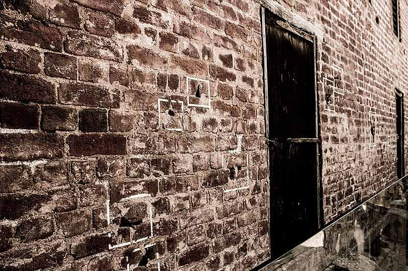 Jallianwala Bagh, The squares mark the bullet holes which were caused as a result of massacre
