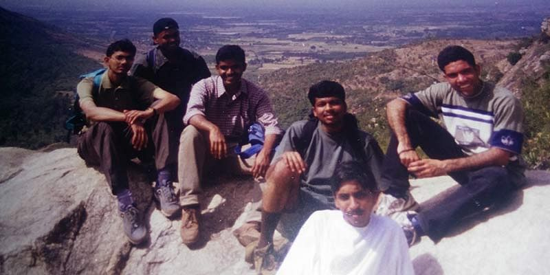 Vinodh, During his college days (3rd from right)