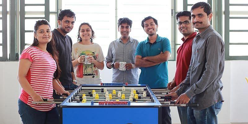 Rajat Upadhaya (in blue T-shirt) with his team at Urban Ladder