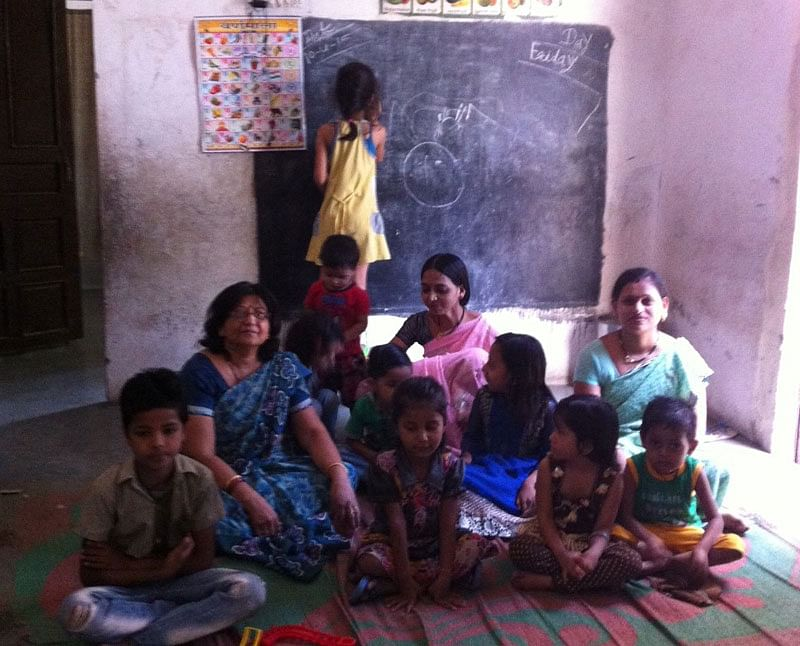 Jaya nagar with some students and teachers of her school.