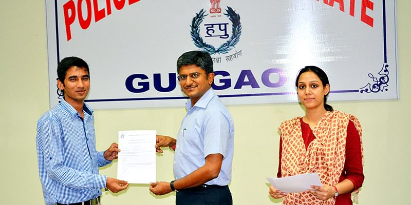 Anand Prakash(Left) With Commissioner of Police (Centre), Gurgaon