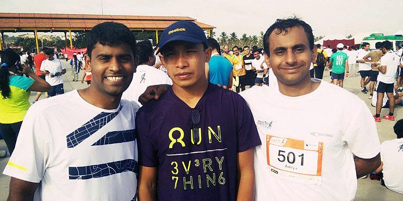 Benguluru 10K Challenge, L to R - Sujith Kumar (Trainer), Jagmohan Singh Bisht (Ultramarathoner and Trainer), Aditya Bhushan Dwivedi