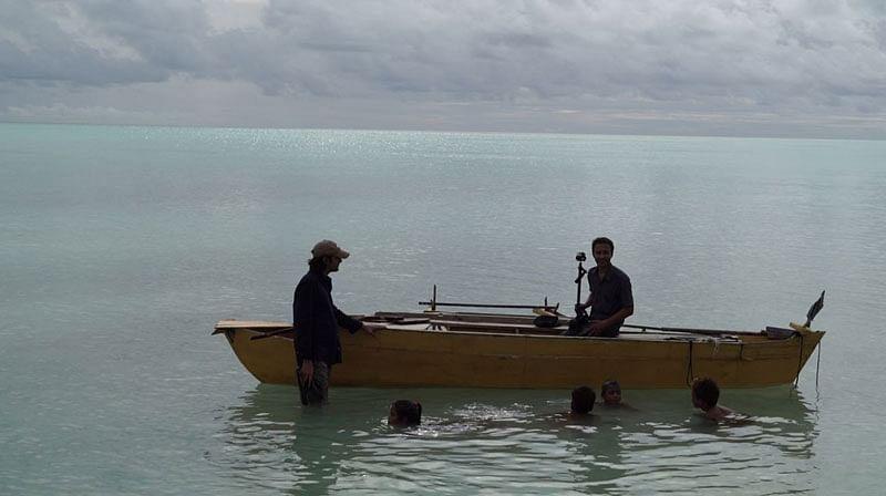Sairam and Ricky Kej at Kiribati Island