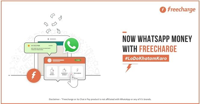 FreeCharge users can now use Whatsapp to send and receive money