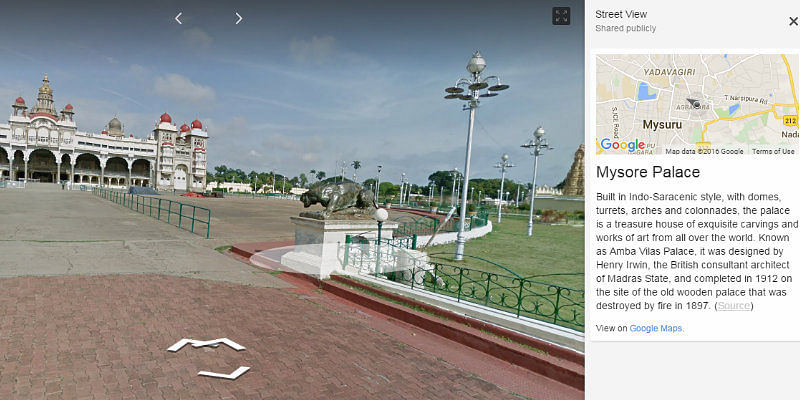 Mysore Palace in Google's Street View