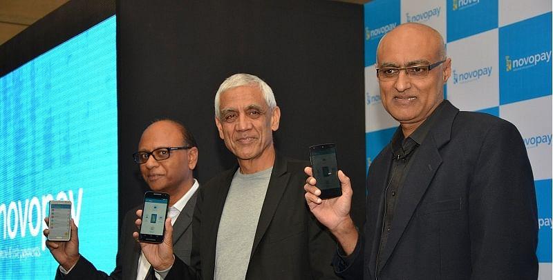 (from L-R) Sridhar Rao, CEO Novopay with Vinod Khosla, Chairman Khosla Labs and Srikanth Nadhamuni, Chairman Novopay