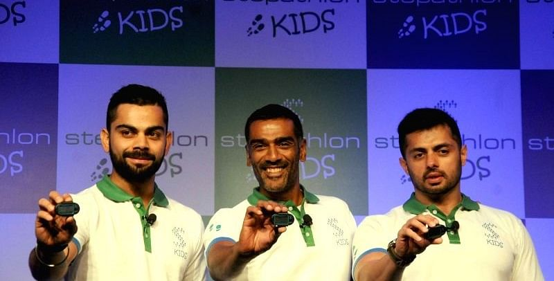Indian cricketer Virat Kohli during the launch-of Stepathlon kids