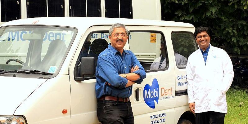 Founders of MobiDent: Vivek Madappa (L) Dr. Devaiah Mapangada