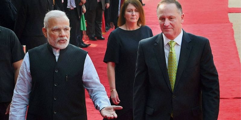 Narendra Modi with New Zealand President John Key