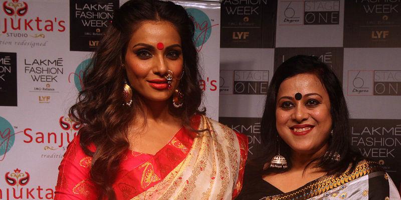 Sanjukta Dutta with ACtress Bipasha Basu at Lakme Fashion Week
