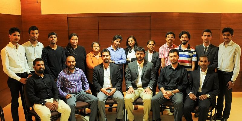 From Left to Right (seated): founders Tejas K and Yashas K (third and fourth from left)