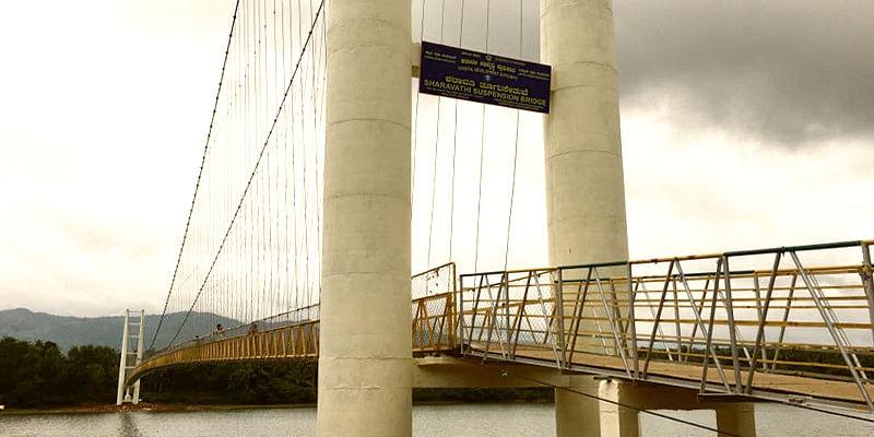 A suspension bridge built across river Sharavathi