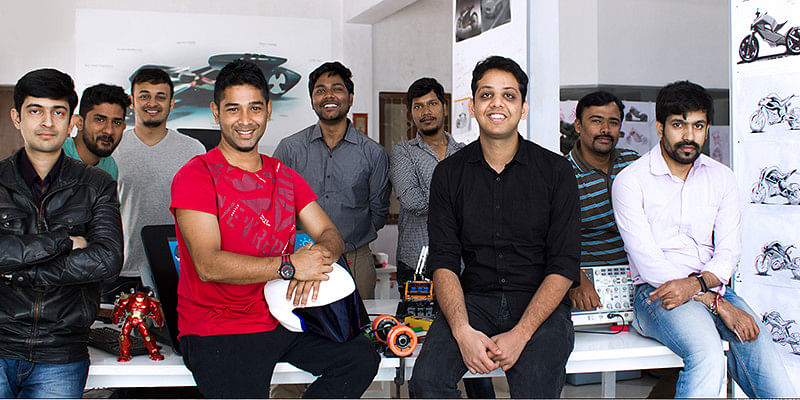 The founding team of Ultraviolette. (L-R) Narayan with the helmet and Niraj to his left.