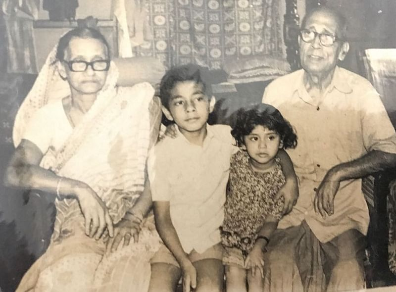 Sandipan with his grandparents