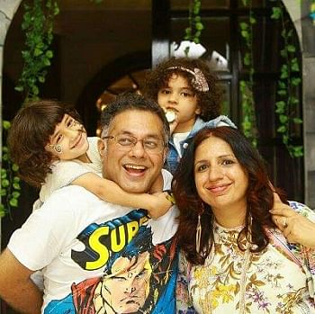 Sandipan with his wife and daughters