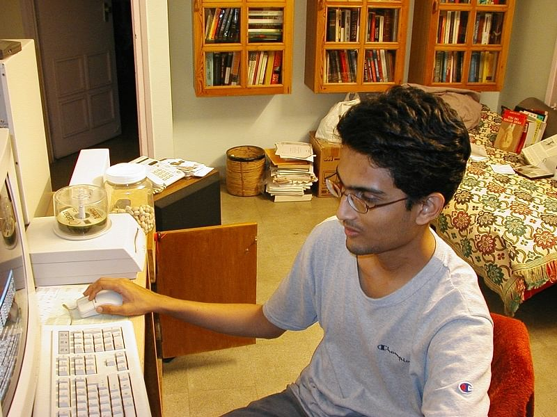 Viral on computer during his college days