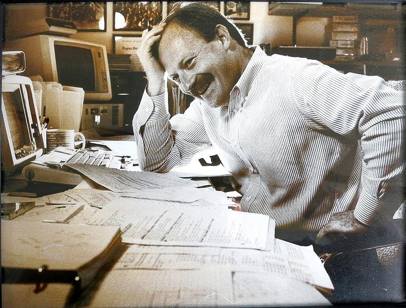 Alan in Menlo Park CA writing code circa 1985.