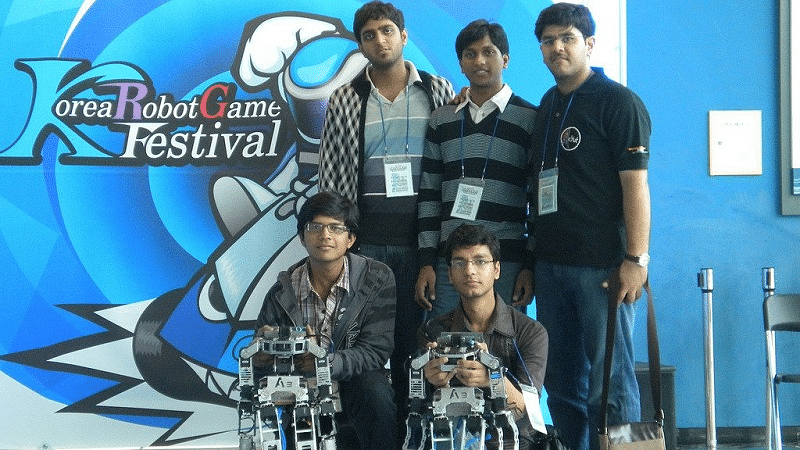 Akash with other AcYut team members at Korea robot game festival