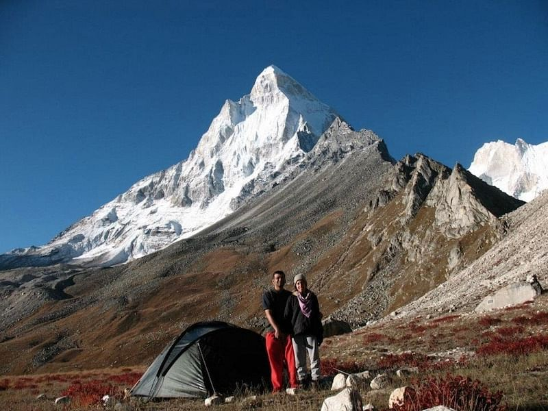 2008, with wife Sandhya, at Tapovan (~4300m), in shadow of Sivling peak, near Gomukh
